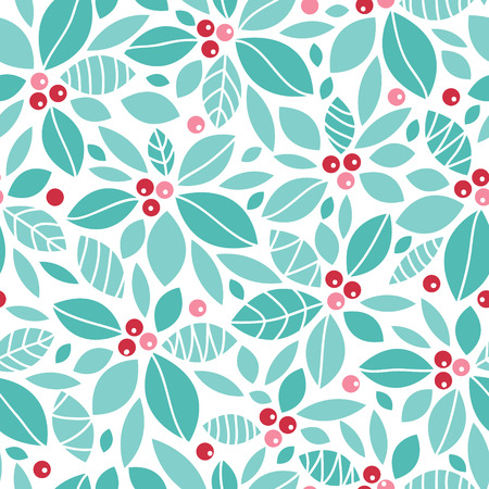 Vector Christmas holly berries seamless pattern background with hand drawn elements Stock Photo