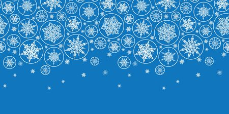 vector falling snowflakes horizontal border seamless pattern background with drawn snowflakes on light blue background. photo
