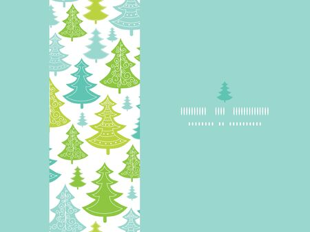 Vector holiday Christmas trees horizontal seamless pattern background with hand drawn elements photo