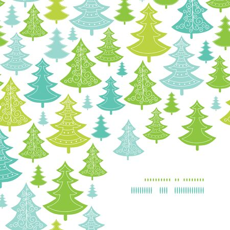 Vector holiday Christmas trees corner decor pattern background with hand drawn elements photo