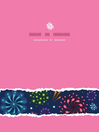 Vector holiday fireworks  vertical torn seamless pattern background with hand dralements photo