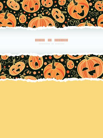 vector Halloween pumpkins vertical torn frame decor seamless pattern background with hand drawn elements photo