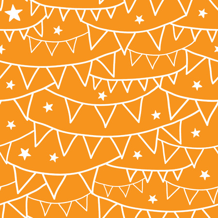Vector Orange Party Decorations Bunting Seamless Pattern Background with triangular bunting and stars in shades of red. Perfect for winter holiday background! photo
