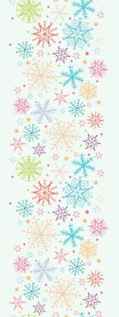 vector Colorful Doodle Snowflakes Vertical Seamless Pattern Background ornament  with drawn snowflakes on light sky background. photo
