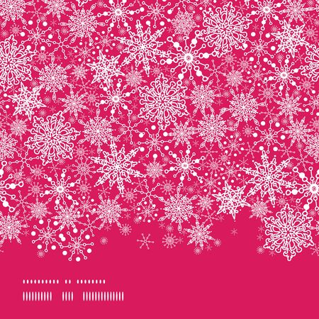 vector Colorful Snowflake Texture Horizontal Border Seamless Pattern Background with drawn snowflakes on light blue background. photo