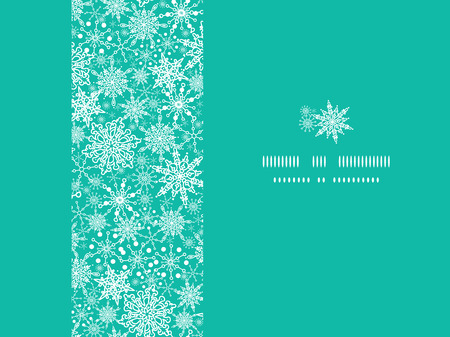 holiday symbol: vector Colorful Snowflake Texture Horizontal Frame Seamless Pattern Background with drawn snowflakes on light blue background.