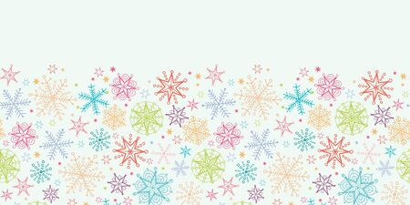 vector Colorful Doodle Snowflakes Horizontal Seamless Pattern Background ornament  with drawn snowflakes on light sky background. photo