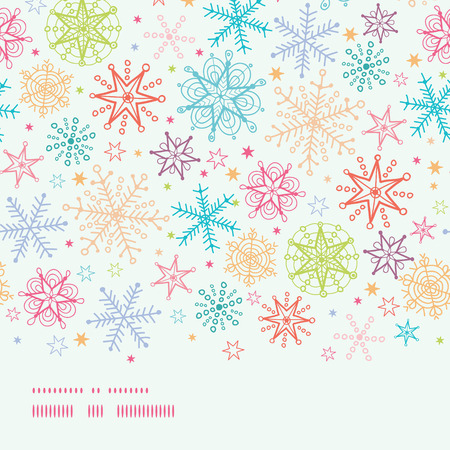 vector Colorful Doodle Snowflakes Horizontal Border Seamless Pattern Background with drawn snowflakes on light sky background. photo