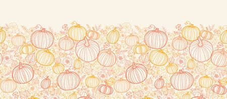Vector Thanksgiving line art pumkins vertical seamless pattern background with hand drawn elements photo