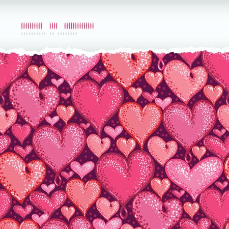 ベクトル赤いバレンタインの日心水平引き裂かれたシームレスなパターン背景多くの手とは、心臓の形を描画されます。ロマンス デザインの日に最