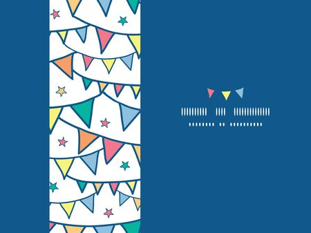 Vector colorful doodle bunting flags horizontal seamless pattern background with hand drawn elements photo