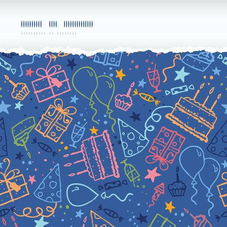 Vector birthday horizontal torn seamless pattern background with hand drawn party elements. photo
