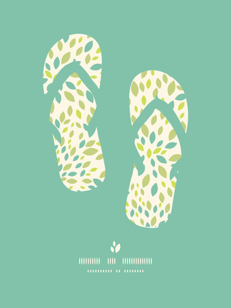 flip flops: Vector leaf texture  flip flops decor pattern background with textured abstract leaves. Stock Photo