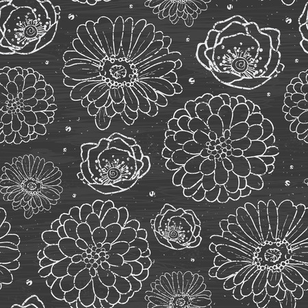 Vector chalk flowers blackboard seamless pattern background line art floral elements. photo