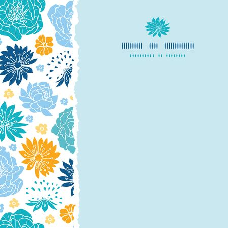Vector blue and yellow flower silhouettes torn square seamless pattern background on dark blue. photo