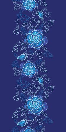 Vector blue night flowers vertical seamless pattern background border on dark blue. photo