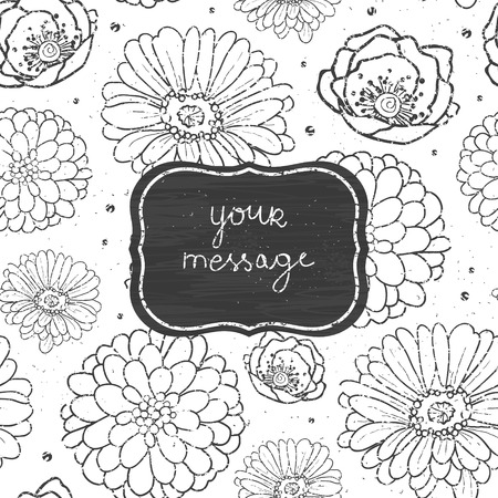 Vector chalk flowers blackboard frame seamless pattern background line art floral elements. photo