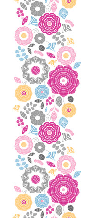 Vector vibrant floral scaterred vertical seamless pattern background with abstract floral elements. photo