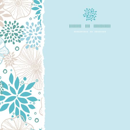 Vector blue and gray plants square torn seamless pattern background photo
