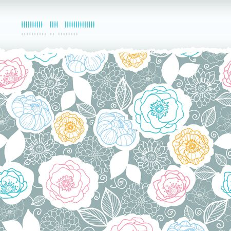 Vector silver and colors florals horizontal torn seamless pattern background photo