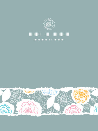 Vector silver and colors florals vertical torn seamless pattern background photo