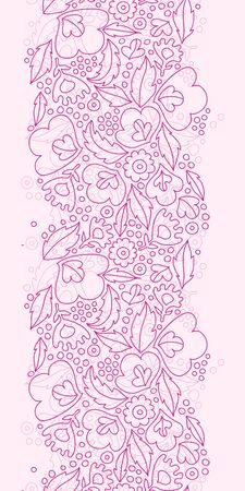 Vector pink flowers lineart vertical seamless pattern background with line art flowers. photo
