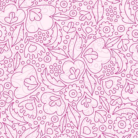 Vector pink flowers lineart seamless pattern background with line art flowers. photo