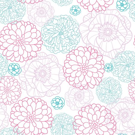lineart: Vector Pink Blue Flowers Lineart Seamless Pattern Background with modern floral texture.