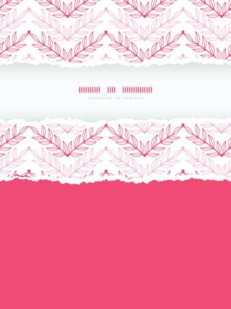 Vector Pink lineart leaves chevron vertical torn seamless pattern background with hand drawn elements photo
