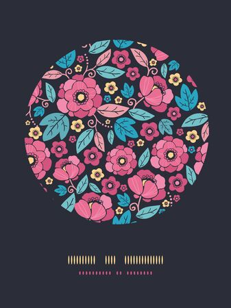 Vector Night Kimono Blossom Circle Decor Pattern Background with vibrant Asian style flowers on black background photo