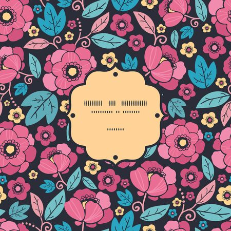 Vector Night Kimono Blossom Frame Seamless Pattern Background with vibrant Asian style flowers on black background photo