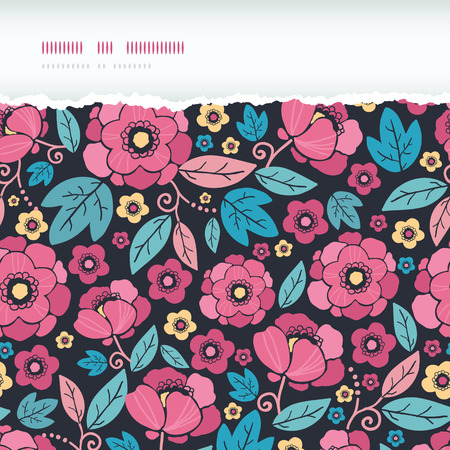 Vector Night Kimono Blossom Horizontal Torn Frame Seamless Pattern Background with vibrant Asian style flowers on black background