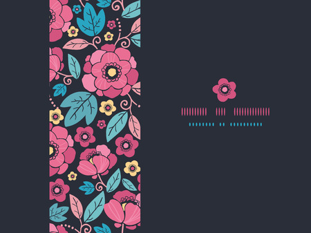 Vector Night Kimono Blossom Horizontal Frame Seamless Pattern Background with vibrant Asian style flowers on black background Stock Photo