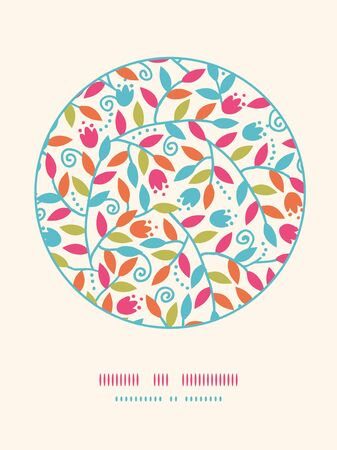 Vector Colorful Branches Circle Decor Pattern Background With abstract plants with fun leaves and branches forming a floral texture. photo