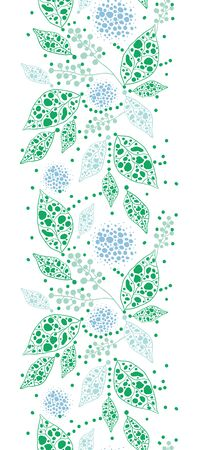 Vector abstract blue and green leaves vertical seamless pattern background with hand drawn elements photo