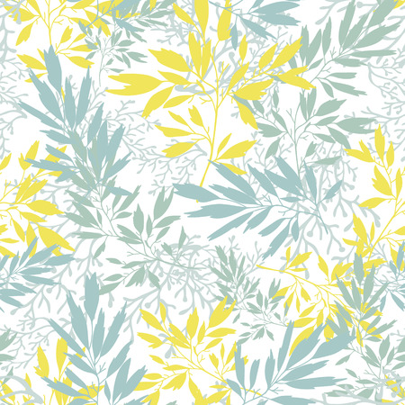 Vector gray and yellow leaves silhouettes seamless pattern background with hand drawn elements photo