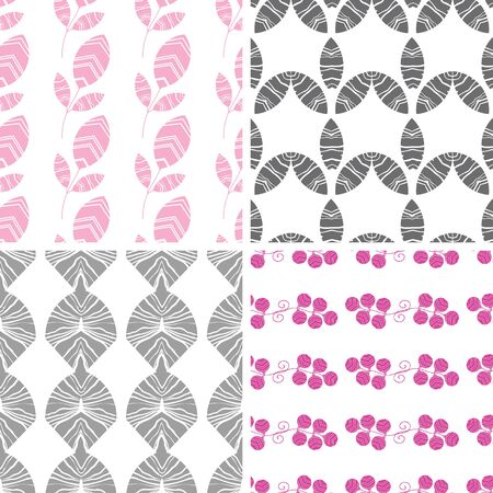 vector four abstract pink gray textured leaves seamless pattern background set photo