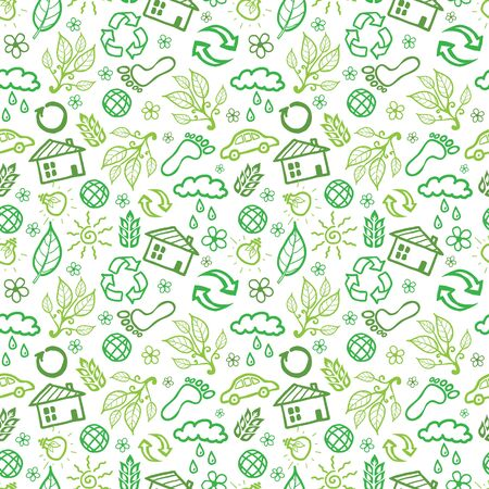 Vector ecology symbols seamless pattern background with hand drawn elements. photo