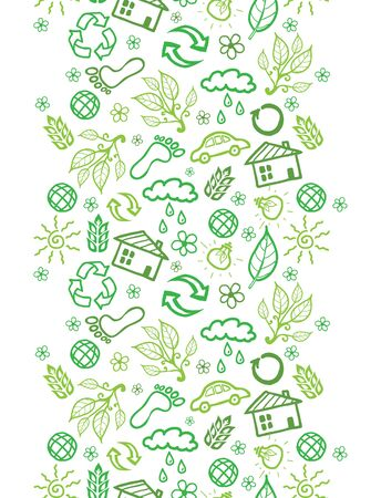 Vector ecology symbols vertical seamless pattern background border with hand drawn elements. photo