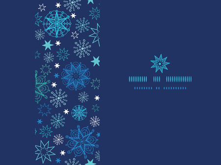 Vector night snowflakes horizontal frame seamless pattern background with hand drawn elements. photo