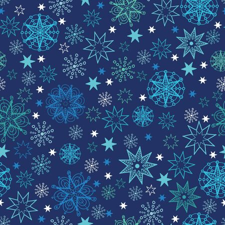 Vector night snowflakes seamless pattern background with hand drawn elements. photo