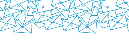 cartoon envelope: Vector Postal letters envelopes line art horizontal seamless pattern background border with hand drawn elements.