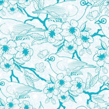 Vector Blue birds with blossoms seamless pattern background with hand drawn elements. photo