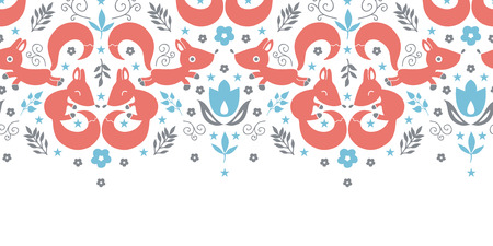 vector cute foxes horizontal seamless pattern background photo