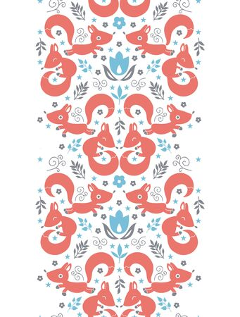 vector cute foxes horizontal vertical border seamless pattern background photo
