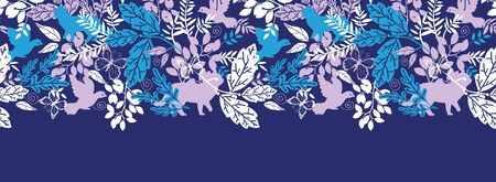 Vector animals in the forest silhouettes horizontal seamless pattern background border