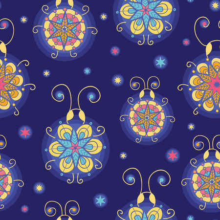 vector glowing fireflies seamless pattern background with hand drawn elements photo