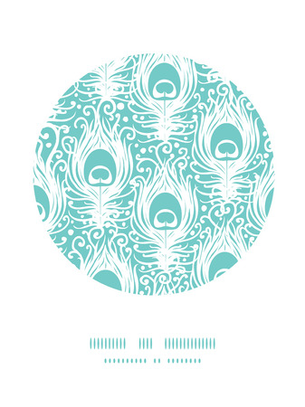 Soft peacock feathers vector circle decor pattern background with hand drawn elements. photo