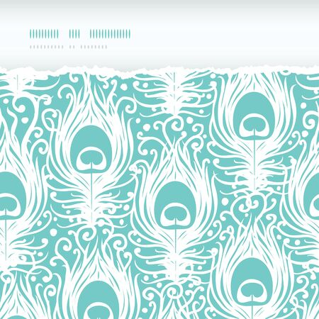 peacock feather: Soft peacock feathers vector horizontal torn seamless pattern background with hand drawn elements. Stock Photo