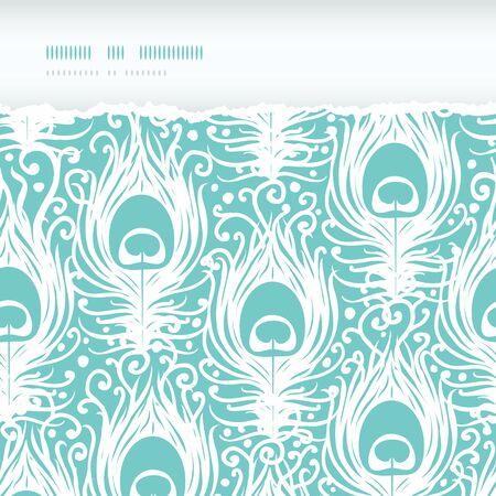 pluma de pavo real: Soft plumas de pavo real vector rasg� horizontal sin problemas de fondo con los elementos dibujados a mano.